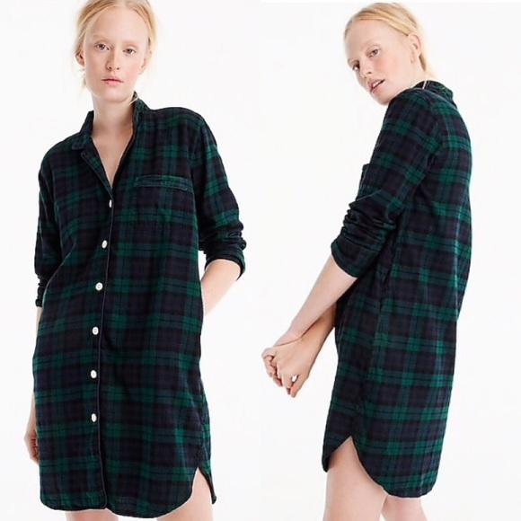 edbf5419dd8 J. Crew Nightshirt In Black Watch Flannel Dress M